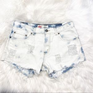 Levi's 505 Denim Cut Off Jean Short Bleach Destroy